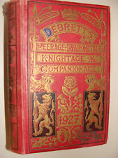 1927 Debrett's Peerage Baronetage Knightage & Companionage UK Nobility Lineage