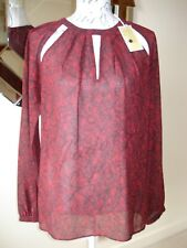 BNWT RED WITH BLACK LACE PATTERN MICHAEL KORS TOP / BLOUSE - SZ L - RRP £145