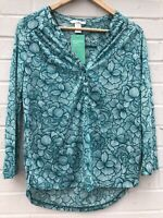 NEW H&M Conscious 100% Recycled Sz UK XS Green white Floral V Neck Top 3/4 Sleev