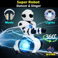 360 Deg. Rotating Electric Robot Walking Dancing Talking Lights Kids Toy Gift