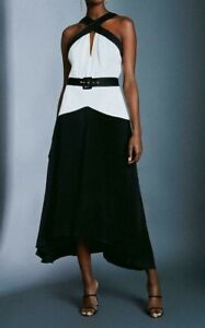 Karen Millen Colour Block Satin Crepe Dress With Belt Black UK Size 14