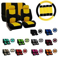 Car Seat Covers Flat Cloth Full Set Universal Fit w/ Steering Wheel Cover Combo