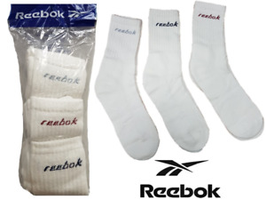 Reebok Unisex 3 Pack Sports Crew Promo Socks Casual Wear White SIZE 13-2.5