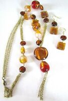 Artisan Hand Crafted Amber Blown Glass Necklace Earring Set