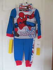 NWT Boy's Spiderman 2 Blue,Red,Gray Long Sleeve 4 piece pajamas 2 sets sz 2T