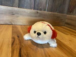 "9"" Aurora Plush Harp Seal White Baby Red Ear Muffs Stuffed Animal Christmas"