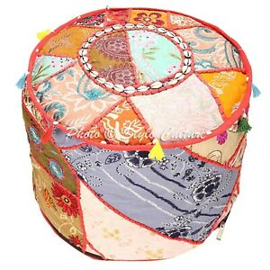 """Indian Round Pouf Cover Patchwork Cowrie Tassels Bean Bag Ottoman Bohemian 18"""""""