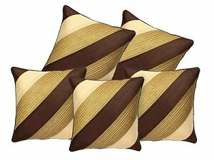 Geometric Design Synthetic Cushion Cover(16x20-inches, Set of 5) -Brown and Gold