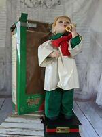 Vintage Crestone Animated Lighted Christmas Choir Boy Moving Arm Head 22″ RARE