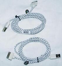 BUY 1 GET 2 FREE - WHITE CLOTH RD IPHONE 5 6 6S 7 CHARGER PHONE CORDS new cord
