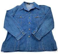 Vintage Lee Mens Blue Stiff Denim Cowboy Western Workwear Shirt Jacket XL