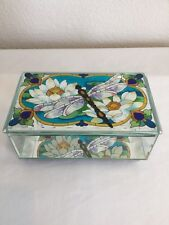 Dragonfly/WaterLilies Mirrored Glass Trinket Jewelry Box Joan Baker Design 6.75""