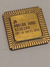 AMD R80186 FLAT PACK GOLD CERAMIC CHIP COLLECTIBLE VINTAGE PROCESSOR fba10a59