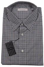 Ermenegildo Zegna Black/Red Check Shirt Made in Italy BNWT Size XXL / 43/17