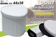 POUF CONTENITORE IMBOTTITO TRAPUNTATO CUORE BIANCO 44X38 CM EVO-667350