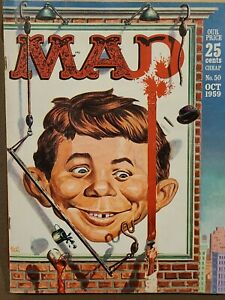 MAD Magazine No. 50 Oct 1959 VG+, Peter Gunn, VW, Bourbon Whiskey ads, NBC v CBS