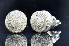 Men's Ladies 10K White Gold Round Cut Diamond 3D Circle Studs Earrings 0.26 Ct.