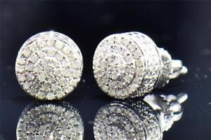 Men's Ladies 10K White Gold Round Cut Diamond 3D Circle Studs Earrings 0.26 Ct.