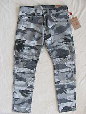 True Religion Slim Moto Jeans -Grey Camo- Black Stitching - Size 32 -NWT $249