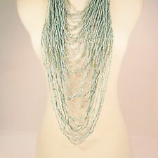 "45"" VERY LONG Multi Strand Handmade Turquoise Blue Bohemian Style Bead Necklace"