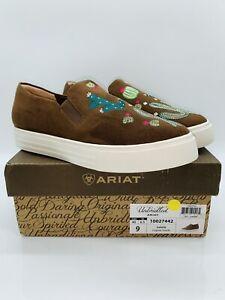 ARIAT Women's Unbridled Isabella Slip On Platform Sneaker Cognac Suede US 9M