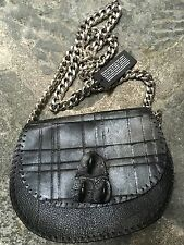 NWT Post &Co Handmade Black Leather Genuine Crocodile Crossover Chain Bag Clutch