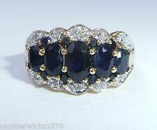 9ct Gold 1.25ct Sapphire & Diamond 5 Stone Ring, Size M 1/2