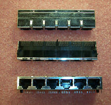 QTY (3) 8 PORT R/A  8P8C MODULAR TELEPHONE JACK  558439-1 AMP NOS