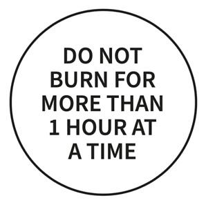 """""""Do Not Burn For More Than 1 Hour At A Time"""" safety labels for candle making"""