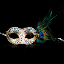 Golden Peacock Masquerade Mask with Feathers Venetian Details for Women