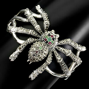 Unheated Green Emerald Ruby Sapphire Marcasite 925 Silver Spider Big Bangle 2.5