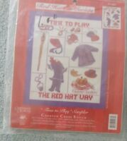 "CANDAMAR DESIGNS Counted Cross Stitch Kit RED HAT SOCIETY ""TIME TO PLAY"" SAMPLER"