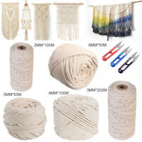 2-6mm Long Beige Cotton Twisted Cord Rope Beige Macrame Artisan String w/ Shears