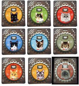 9 Breeds Cats BOTTLE NINJA Magnet + Bottle Opener + Coaster 3 in 1 E&S Pets