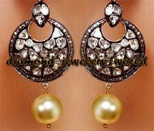 Diamond Pearl Silver Danglers Jewelry Artdeco Estate 5.57cts Rose Antique Cut