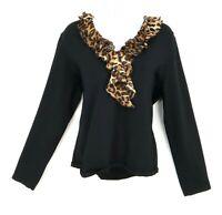 Jones New York Blouse Top Womens Size XL Black Animal Print Rayon Ruffles V-Neck