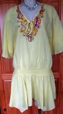 NEXT LOVELY LEMON  COTTON  EMBELLISHED BEADED GYPSY CASUAL HOLIDAY TUNIC TOP 16