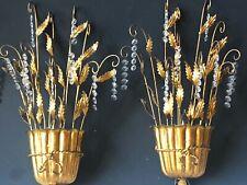 *PAIR Vintage ITALIAN ITALY Gold Gilt CANDELABRAS Lights Antique Sconces *PRISMS