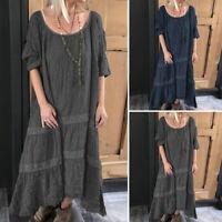 VONDA Women Summer Plus Size Short Sleeve Ladies Casual Vintage Long Maxi Dress