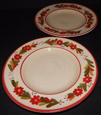 2 Ballard Designs Country Flower Red Rimmed Salad Plates Hand Painted Stoneware