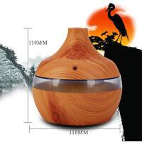 Wood Grain LED Essential Oil Diffuser USB 300ml Ultrasonic Humidifier Purifier