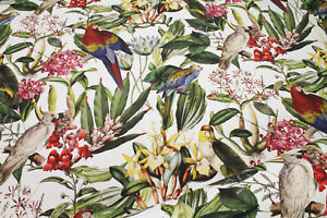 Stoff Baumwolle weiß Dschungel Papagei Blatt Blätter Palme
