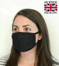 BLACK FACE MASK UK SELLER Black Cotton Washable Reusable black Breathable Mask P