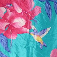 Hummingbird Design Silk Scarf Square Made in Japan Fucshia