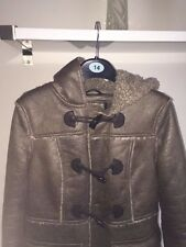 "LADIES ""NEW LOOK"" SOFT FAUX LEATHER LOOK HOODED COAT WITH FUR LINING SIZE 10"