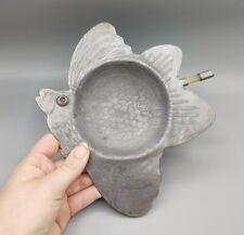 Vintage Metal Bird Trinket Dish Gemstone Eye