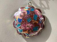 """Vintage Signed Park Lane Gold Tone Asian Cloisonne Flower Pendant Necklace 23"""" L"""