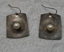 Pair of Mid-Century Modern Artisan Made Sterling Silver & Pearl  Earrings SIGNED