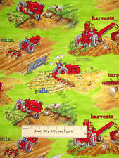 Print Concepts Tractor Mac Tossed Red Tractor Farm Scenes Cotton Fabric YARD