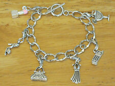 Party/Girl's Night Out Silver-Tone Charm Bracelet High Heel/Drink/Dress/Lipstick